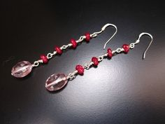Long Pink Earrings Sterling Silver Wire Wrapped by PumpkinBeads
