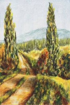 Cypress Guards (Chianti, Tuscany, Italy); gouache on canvas paper