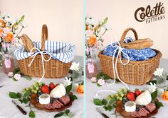 Tutorial: Make a Custom Picnic Set from a Thrift Store Basket! at the Coletterie from Colette Patterns. Very cute idea! This could make a lovely gift. Cane Baskets, Easter Baskets, Sewing Projects, Sewing Crafts, Diy Projects, Fabric Crafts, Picknick Set, Rectangular Baskets, Wicker Picnic Basket
