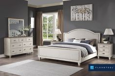 Newport is an elegant, country cottage style with a distressed finish and subtle, rustic brown tops that provide a two-tone look. #FlexsteelFurniture #ThisIsHowWeDwell #BuiltToLast #BedroomDesign #Bedroom #BedroomInspiration #BedroomStyling Queen Bedroom, Home Bedroom, Quality Furniture, Online Furniture, Liberty Furniture, Room Planning, Upholstered Beds, Home Collections, Newport
