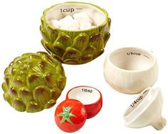 Two's Company Cupcakes and Cartwheels Veggie Salt Measuring Cup Set