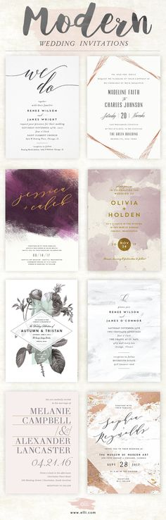 Unique Modern Wedding Invitations in a variety of styles. Find your perfect modern wedding invite and customize for free at Elli.com