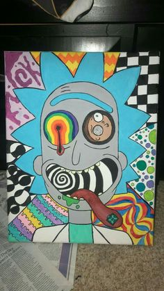 art trippy Trippy Rick and morty canvas… art trippy Trippy Rick and morty canvas painting Simple Canvas Paintings, Easy Canvas Art, Small Canvas Art, Mini Canvas Art, Cute Paintings, Acrylic Painting Canvas, Easy Art, Canvas Painting Designs, Buy Canvas