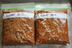 Easy Freezer Meals - Sloppy Joes
