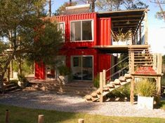 Container Design Loft is a luxurious bright red hotel made from piled up shipping containers rising above a dense pine tree forest meters away from the unspoiled Uruguayan beaches of Jose Ignacio. Container Hotel, Building A Container Home, Storage Container Homes, Container Design, Shipping Container Buildings, Shipping Container Homes, Shipping Containers, Container Architecture, Architecture Design