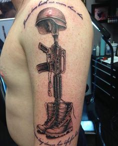 Soldier memorial tattoo done by Danny Dyster
