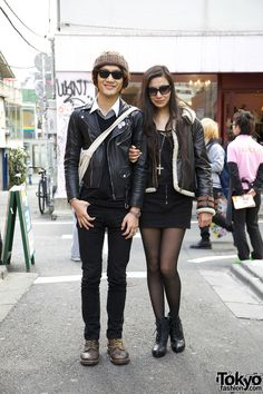Harajuku couple in leather jackets, one by Vivienne Westwood
