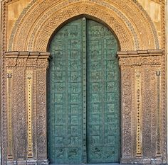 Sicily, Monreale Cathedral - Bronze door,1185, curious combination of three styles - Norman-French, Byzantine and Arab. The Benedictine abbey was founded in the 12C by the Norman King, William II