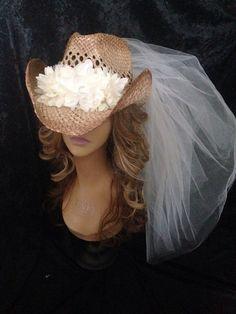 Cowboy Hat Veil Cowgirl Hat Veil Wedding by LaurenLashDesignsLLC