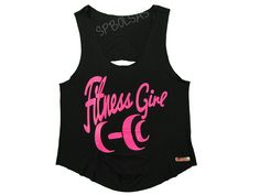 Regatas Femininas | Regata Cavada Curta Costas Rasgadas Fitness Girl Halteres Preta  Acesse: http://www.spbolsas.com.br/atacado/ #Regatas #Femininas #Atacado