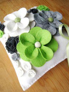 Floral Wedding Ring Bearer Pillow Wool Felt Flowers by HeyMiemie