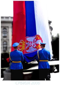 Serbia flag raising