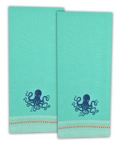 Love this Octopus Embroidered Dish Towel - Set of Two by Design Imports on #zulily! #zulilyfinds