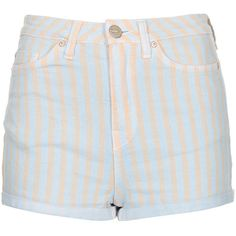 TOPSHOP MOTO Blue Pastel Strip Hotpants ($30) ❤ liked on Polyvore featuring shorts, bottoms, pants, short, blue, high waisted cotton shorts, mini shorts, topshop, hot pants and high waisted short shorts