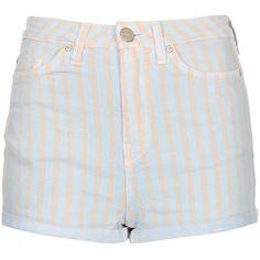 TOPSHOP: MOTO Blue Pastel Strip Hotpants ($64)