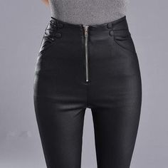 fbb874289a4b3c Autumn Winter Skinny High Waist Leather Leggings Women Slim Plus Velvet PU  Leather Pencil Pants Sexy Long Black Leggings C4889