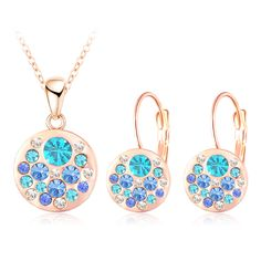 Condition:100% Brand New Plated:Rose Gold Plated /Silver Plated Material:Zinc Alloy Metal,Nickel,Lead and Cadmium Free Stone :Pave Setting Austrian Crystal Type: Pendant Necklace / Earrings Set Conversion: 1 inch = 25.4mm or 1mm = 0.0393 inch