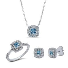 Sterling silver bonded with platinum with simulated diamonds by swarovski three set invisible aquamarine tone. ZS-0200AQ 925 SOLID STERLING SILVER. SIGNATY simu
