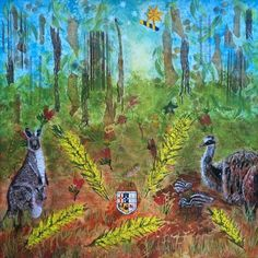 """""""The Australian Coat of Arms - Deconstructed"""" An original Mixed Media piece by Wendy Sinclair 76cm x 76cm www.wendysart.co"""