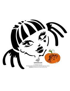 Monster High Pumpkin Carving Patterns Draculaura Monster High Doll Pumpkin Template – Cartoon Jr.