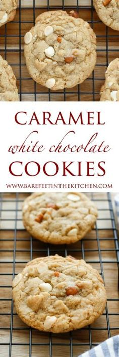 Perfectly thick and chewy cookies filled with white chocolate chips and bits of caramel proved irresistible to everyone who tried them! (If you don't happen to be a fan of white chocolate, just swap i (White Chocolate Desserts) Cookie Desserts, Just Desserts, Cookie Recipes, Delicious Desserts, Dessert Recipes, Yummy Food, Chocolate Caramel Cookies, Chocolate Chips, Chocolate Muffins