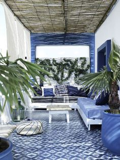 Blue and white terrace in Tangier. Backyard, ideas, garden, diy, bbq, hammock, pation, outdoor, deck, yard, grill, party, pergola, fire pit, bonfire, terrace, lighting, playground, landscape, playyard, decration, house, pit, design, fireplace, tutorials, crative, flower, how to, cottages.