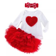 leg warmers and hair bow 4 pc Baby Girl Valentine/'s Day Outfit BabyToddler Valentine/'s LOVE outfit with floral and polka dot ruffle skirt