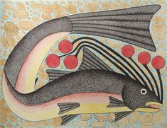 Fish with Clams, by Kenojuak Ashevak (Inuit artist), Cape Dorset, 2004-2005