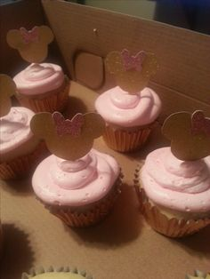 Minnie Mouse gold and pink cupcakes for 1st birthday party.