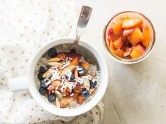 Sweeten Your Morning with Peach Compote Overnight Oats — Food Network Oats Recipes, Cooking Recipes, Healthy Recipes, Clean Recipes, Healthy Eats, Brunch Recipes, Breakfast Recipes, Breakfast Ideas, Peach Compote