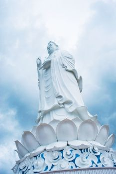 The statue of buddha  goddess of mercy  Quan Am  in Linh Ung Pagoda Da Nang Vietnam