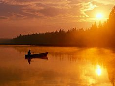 Canoeing into the sunset  backcountry-canoeing