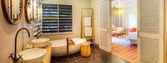 Vomo Fijian Resort, Bathroom Pano to Bedroom.