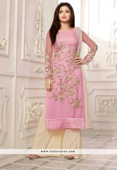 Spectacular Cream And Pink Color Drashti Dhami Salwar Suit                                                                                                                                                      More