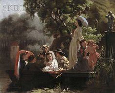 "Jozef Willemszoon Hoevenaar (Dutch, 1840-1926),  ""The Boating Party"""