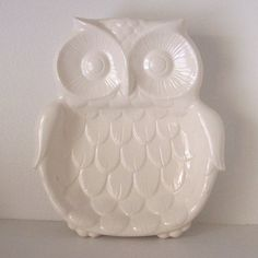 Forest Owl Spoon Rest Tray In White