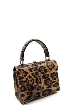 """Tiny Leopard Handbag With Detachable Chain Shoulder Strap, Magnet Front, And Lined In Satin. So Adorable!  5.5"""" x 6.5"""" Any Occasion In Stock"""