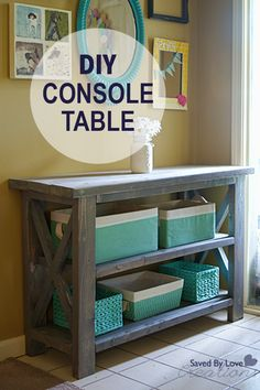 DIY Rustic Console Table @savedbyloves