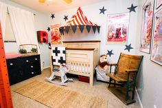 Vintage circus nursery on Classy Clutter