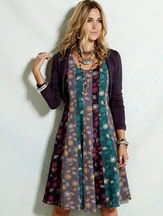 NOMADS Organic Jersey Cotton Flattering Knee Length  Dress  Long Sleeves BOHO