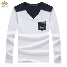 f800676ef767 MIUK Large Size Patchwork T Shirt Men Hip Hop V Neck Tshirt Homme Brand  Clothing Gray Black White Camisa Masculina 2017 - Tshirt and Jeans Store