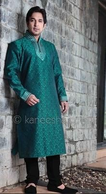 Turquoise Silk Tanchoi Men's Kurta Set