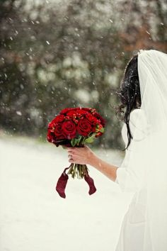 A fantastic way to bring vibrant colours into a wonderful Winter Wedding. Use bold and vivid colours within your bouquet to help them stand out against a white backdrop of falling snow. So simple and visually stunning!