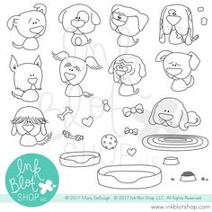 Playful Pups is a x stamp set that includes 27 individual stamps. For size reference, the dog with glasses is approximately . Birthday Calender, Dog With Glasses, Animal Doodles, Building Images, Card Making Supplies, Dog Cards, Clear Stamps, Pup, Mermaid