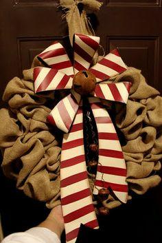 Burlap Christmas Wreath Tutorial   Homegrown Joy