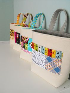 Sew: 1 handle bag to hang on hook outside kids' rooms to gather their stuff.