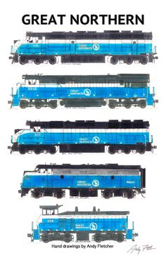 5 hand drawn Great Northern blue paint scheme locomotive drawings by Andy Fletcher