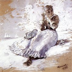 Girl with Shell at Her Ear by Winslow Homer