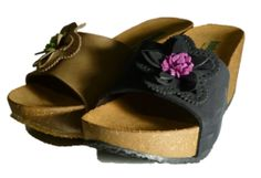 Italian slippers with wedge and flower, made in Italy by Bionatura spring 2014