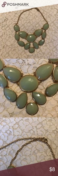 NWOT Statement Necklace Mint and gold statement necklace. Never worn. Jewelry Necklaces